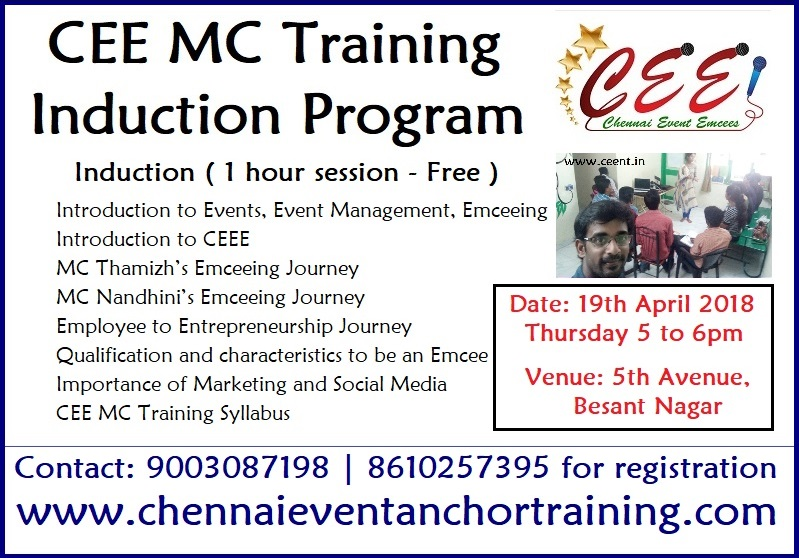 Chennai Event Emcees MC Training Induction Program Agenda Final