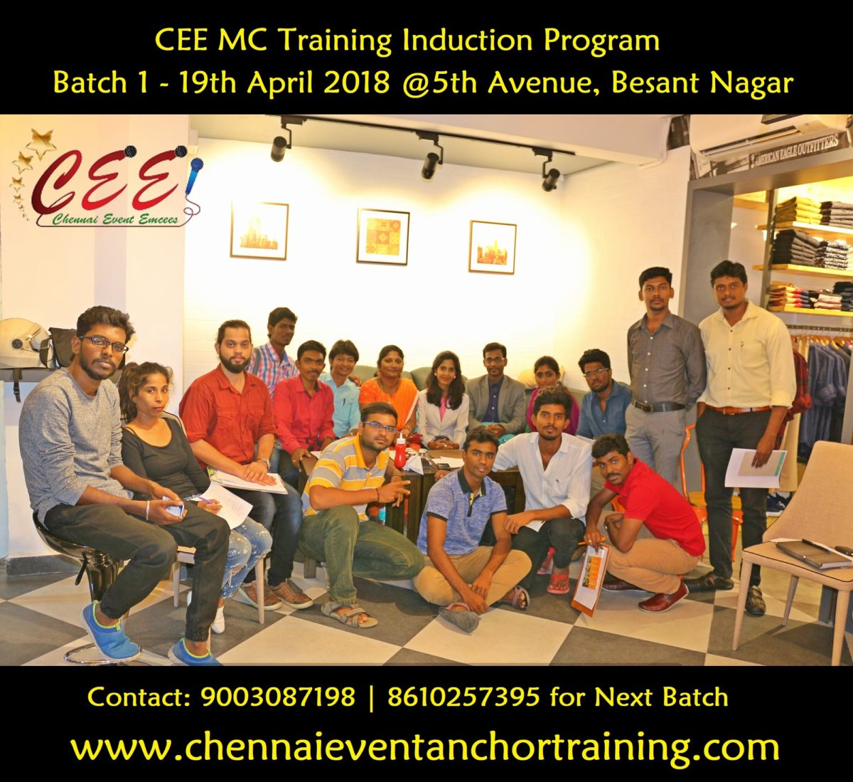 CEE MC Training Induction Program Batch One group Photo at 5th Avenue Besant Nagar
