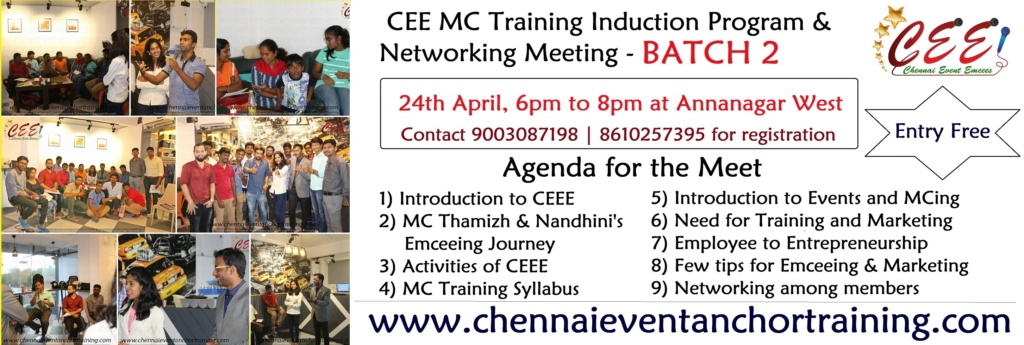 Chennai Event Emcees MC Training Induction Program and Networking Meeting Batch 2 at Annanagar CEE Office