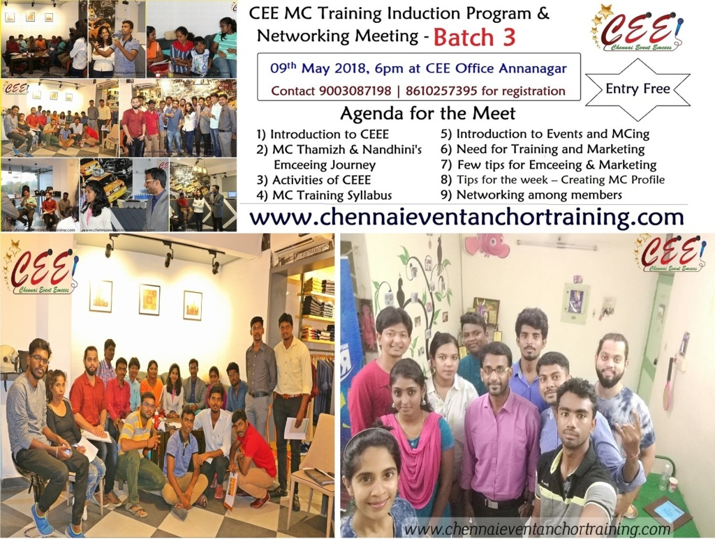 Chennai Event Emcees MC Training Induction Program and Networking Meeting Batch 3 at Annanagar CEE Office 2