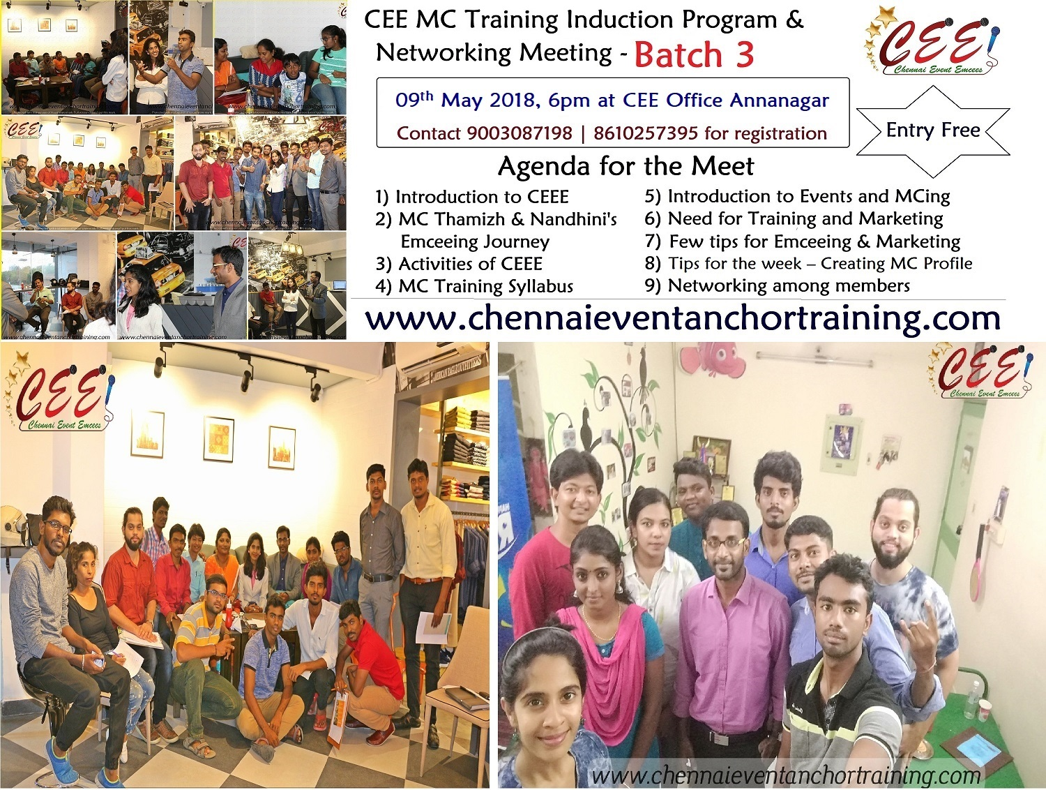 CEE MC Training Induction Program and Networking Meeting on 09th May 2018 Wednesday 6pm at Annanagar CEE Office