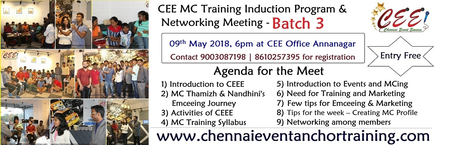 What you can expect in CEE MC Training Induction Program Batch 3 on 09th May 2018 at Annanagar
