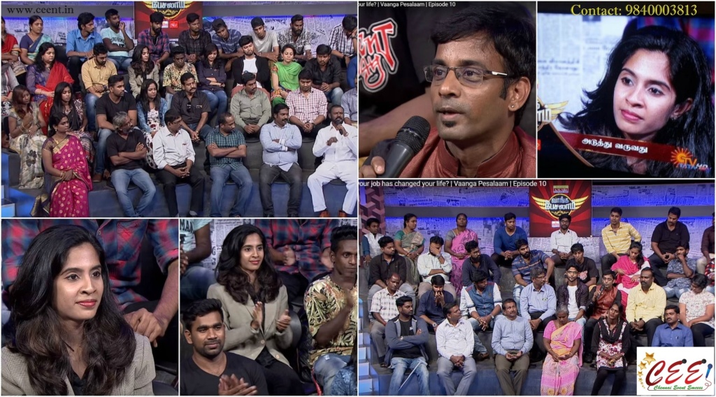 Chennai Event Anchors Thamizharasan Karunakaran and Nandhini in Sun TV Vaanga Pesalaam Talk Show